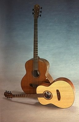 Photo: Five-string acoustic bass guitar, six-string Auditorium model guitar